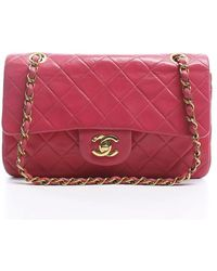 Chanel Pre-Owned Lambskin Small Double Flap Bag pink - Lyst