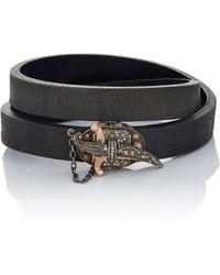 Sevan Biçakci - Leather Wrap Bracelet With Dagger Closure - Lyst