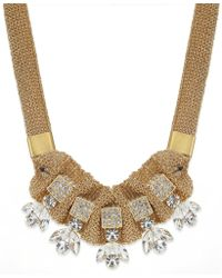 ABS By Allen Schwartz Gold-tone Chain Mesh and Crystal Jewel Frontal Necklace - Lyst