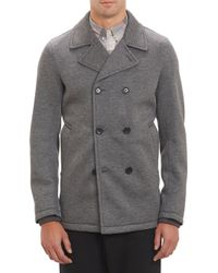 Vince Neoprene Double-Breasted Peacoat - Lyst
