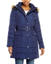 Tommy Hilfiger Belted Faux Fur Trim Puffer Coat - Lyst