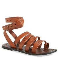 Free People 'Sunever' Leather Gladiator Sandal - Lyst