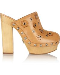 Michael Kors Prim Appliquéd Leather Clogs - Lyst