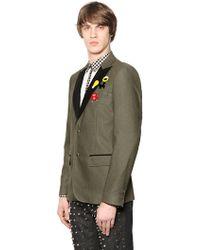 Au Jour Le Jour Cool Wool Jacket With Metal Appliqués - Green