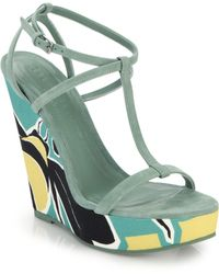 Burberry Tindalson Printed Canvas-Wedge Suede Sandals - Lyst