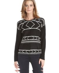 Jamison Black Wool Blend Knit Tribal Printed Long Sleeve Crewneck Sweater - Lyst