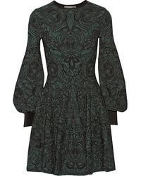 Alexander McQueen Green Jacquard Dress - Lyst