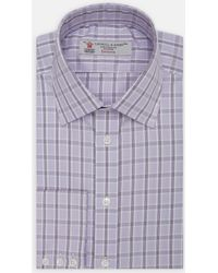 Turnbull & Asser | Exclusive Purple And Lilac Check Cotton Shirt With Classic T&a Collar | Lyst
