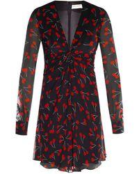 Saint Laurent - Cherry-print Chiffon Dress - Lyst