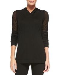 Donna Karan New York Cashmere Hooded Long-Sleeve Top - Lyst