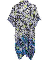 Peter Pilotto - Blue Kaftan Blossom Print Silk Shirt Dress - Lyst