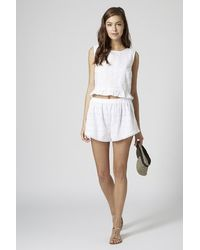 TOPSHOP - Palm Embroidered Shorts - Lyst