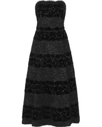 Dolce & Gabbana Strapless Devoré Velvet and Lace Midi Dress - Lyst