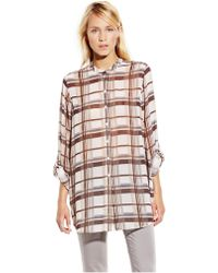 Vince Camuto Plaid Roll Sleeve Tunic - Lyst