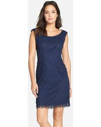 Adrianna Papell Floral-Lace Sheath Dress - Lyst