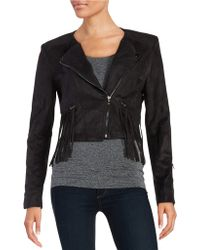 Fate - Fringe-accented Sueded Jacket - Lyst