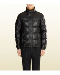 Gucci Quilted Leather Down Jacket - Lyst