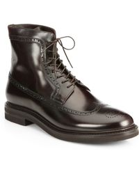 Brunello Cucinelli Wingtop Leather Boots - Lyst