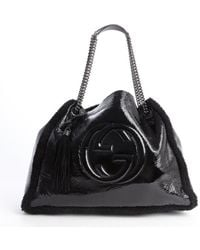 Gucci Black Patent Leather and Dyed Fur Logo Emblem Chain Strap Shoulder Bag - Lyst