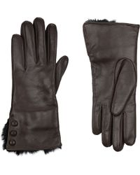 Harrods Rex Fur Trimmed Leather Gloves - Lyst