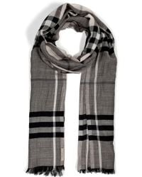 Burberry Woolsilk Gauze Giant Check Scarf - Lyst