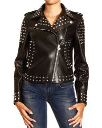 Versace Crystal Studded Leather Motorcycle Jacket - Lyst