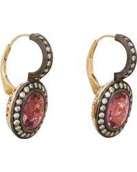 Munnu Pink Sapphire Diamond Drop Earrings - Lyst