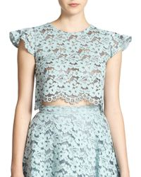 Alexis Tovi Sheer Lace Cropped Top - Lyst