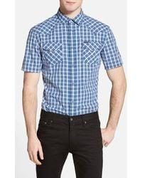 Diesel 'Sulfura' Extra Trim Fit Short Sleeve Plaid Western Shirt blue - Lyst