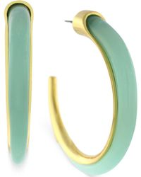 Vince Camuto - Gold-Tone And Aruba Blue Stone Hoop Earrings - Lyst