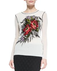 Jean Paul Gaultier Long-sleeve Floral-embroidered Top - Lyst