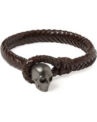 Alexander McQueen Metal Skull And Woven-Leather Bracelet - Lyst