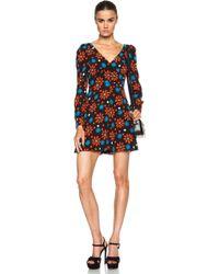 Saint Laurent Seventies Flower Viscose V Neckline Dress - Lyst