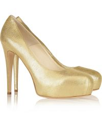 Brian Atwood Jewel Glace Metallic Suede Pumps - Lyst