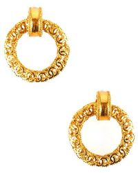 Chanel Pre-Owned Gold Layered Cc Hoop Dangle Earring - Lyst
