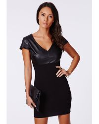 Missguided Verona Pu Contrast Bodycon Dress Black - Lyst