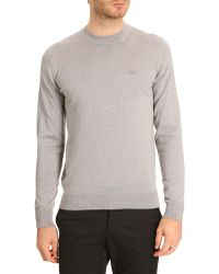 Lacoste Lambswool Grey Sweater with Toneontone Crocodile Logo - Lyst
