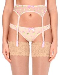 L'agent By Agent Provocateur Clemintina Embroidered Suspenders - Lyst