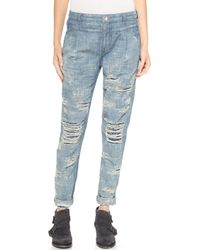 Free People Destroyed Denim Jeans - Indigo - Lyst