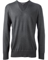 John Varvatos Gray Vneck Sweater - Lyst