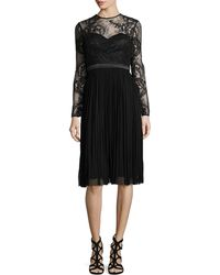 Catherine Deane Lace-Bodice Pleated Dress black - Lyst