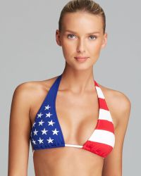 Ralph Lauren Blue Label Americana Package Slide Halter Bikini Top - Lyst