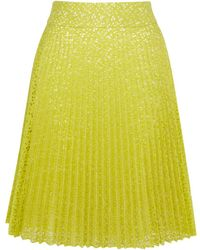 Karen Millen Pleat Lace Skirt - Lyst