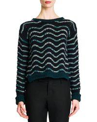 Jil Sander Wavy Stripe Cropped Knit Sweater - Lyst