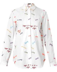 House Of Holland Scribbleembroidered Cotton Shirt - Lyst