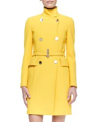 Versace Doublebreasted Belted Coat Yellow - Lyst