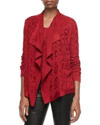 M Missoni Solid-knit Waterfall Cardigan - Lyst