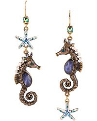 Betsey Johnson - Into The Blue Seahorse Mismatch Drop Earrings - Lyst