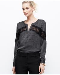 Ann Taylor Dotted Crepe Placed Lace Blouse - Lyst