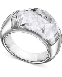 Swarovski | Stainless Steel Crystal Dome Ring | Lyst